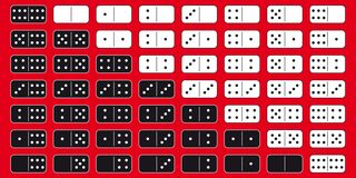 Domino. 2 sets of domino blocks (black and white). Vector graphic - perfect to use in various designs or 3d modeling Royalty Free Stock Images