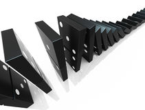 Domino blocks. An isolated black domino blocks chain reaction on white background Stock Image