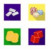 Domino bones, stack of chips, a pile of mont, playing blocks. Casino and gambling set collection icons in flat style Royalty Free Stock Photo