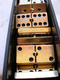 Domino box. Golden domino box (collection of parts stock photography