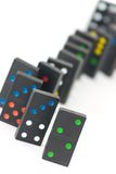 Domino bricks. Some wooden domino bricks, blurred background Stock Image