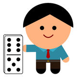 A domino. A business man with a domino Stock Photo