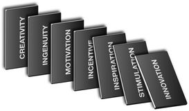 Domino bw. Domino effect with 7 marketing keywords in black and white Royalty Free Stock Image