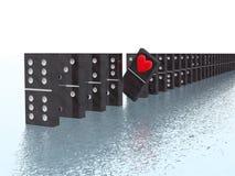 Domino con cuore Fotografie Stock