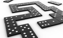 Domino. 3d render of black domino blocks over white background Royalty Free Stock Photos