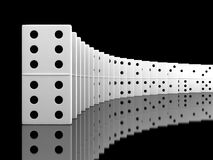 Domino. 3d render of white domino blocks over black background Royalty Free Stock Photography