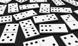 Domino. 3d render of white domino blocks over black background Stock Photo