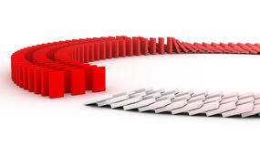Domino. 3D rendering of falling blocks representing a domino effect Stock Images
