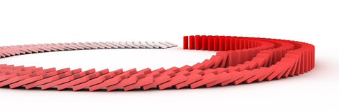 Domino. 3D rendering of falling blocks representing a domino effect Royalty Free Stock Images