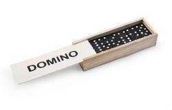 Domino in de doos Stock Foto