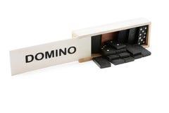 Domino in de houten doos Royalty-vrije Stock Foto