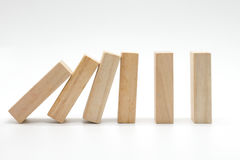 Domino di legno di caduta Fotografia Stock Libera da Diritti