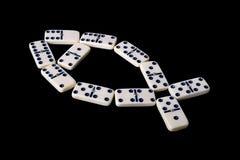 Domino die op een zwarte wordt geïsoleerdi Stock Foto