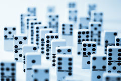 Domino Dominoes Background. A background of dominoes with selective focus Stock Photos