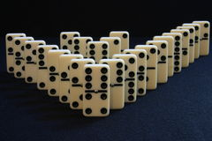 Domino double V. Two rows of dominoes stock image