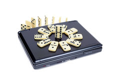 Domino on DVD player Royalty Free Stock Photo