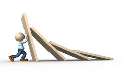 Domino efect. 3d people - man, person stopping domino effect Royalty Free Stock Image