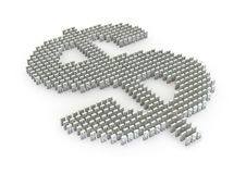 Domino effect. 3D render of domino pieces forming dollar symbol Royalty Free Stock Images