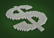 Domino effect. 3D render of domino pieces forming dollar symbol Stock Image