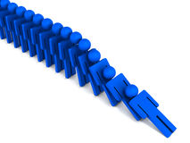 Domino effect. Falling figures in domino effect, with one fall leading to another Stock Image