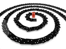Domino effect. 3d individuality concept spiral black Royalty Free Stock Image