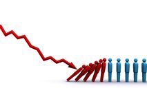 Domino Effect. 3d rendering of stock market plunge affecting jobs Stock Image