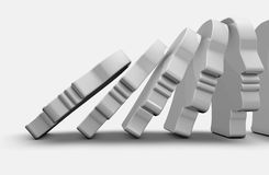 Domino effect abstract illustration. Domino effect abstract 3d render illustration Stock Photos