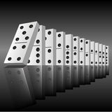 Domino effect. Black dominoes in a row ready to begin to falling. Vector illustration vector illustration