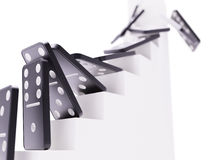 Domino effect on career ladder concept Stock Image