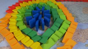 Domino Europe Map. The domino effect of colorful wooden blocks on the Europe map stock video footage