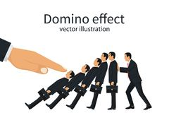 Domino effect concept. Big hand pushes businessmen standing in row. Human stops fall. Stopping chain reaction intervention. Vector illustration flat design Royalty Free Stock Image