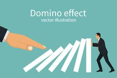 Domino effect concept. Big hand pushes dominoes standing in row. Human stops fall. Stopping chain reaction intervention. Vector illustration flat design Stock Photography