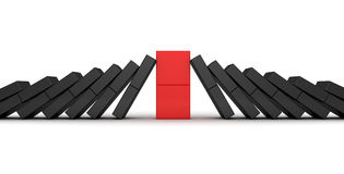 Domino effect concept with red leader Stock Images