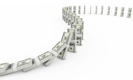 Dollar Domino. Domino effect with dollar bills Stock Images