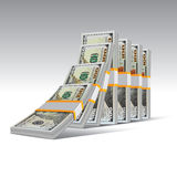 Domino effect with dollas. Domino effect with stacks of hundred dollar bills. Vector illustration Stock Photography