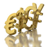 Falling currencies affecting other currencies. Domino effect of the euro on other international currencies on white background Stock Images