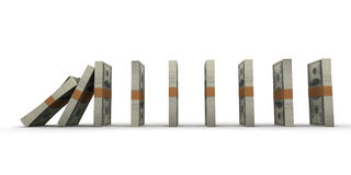 Domino effect with money. Domino effect with stacks of hundred dollar bills Stock Image