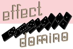 Domino effect poster. Realistic Dominoes full set 28 pieces for game . Black collection. Abstract concept graphic element. Vector illustrations Vector Illustration