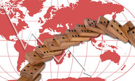 Domino effect risk panic around the world concept background Royalty Free Stock Photos