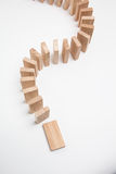 Domino effect - row of white dominoes Stock Photos