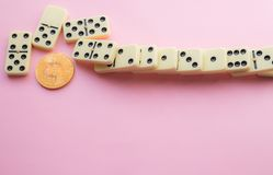 Domino effect shot. Bitcoin destroyed financial anonymity. Bitcoin destroys the system. bitcoin collapse royalty free stock images