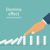 Domino effect. Stopping chain reaction. Business solution. Successful intervention. The man stops the falling domino with finger hand. Vector illustration flat Royalty Free Stock Image