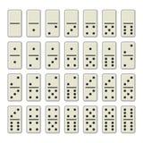 Domino entbeint ganzen Satz auf weißem Hintergrund Vektor Lizenzfreies Stockbild