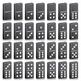 Domino Full Set Vector Realistic 3D Illustration. Black Color. Classic Game Dominoes Bones  On White. Top View. 28 Pieces Royalty Free Stock Image
