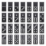 Domino Full Set Vector Realistic Illustration. Black Color. Classic Game Dominoes Bones  On White. Top View. For Royalty Free Stock Photo