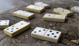 Domino game close-up Royalty Free Stock Images