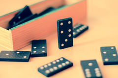 Domino game with domino pieces retro style Royalty Free Stock Images