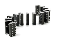 Domino game stones in a s-curve shaped row Royalty Free Stock Photos