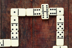 Domino Game On Wood Stock Photo