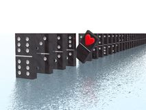 Domino with heart Stock Photos